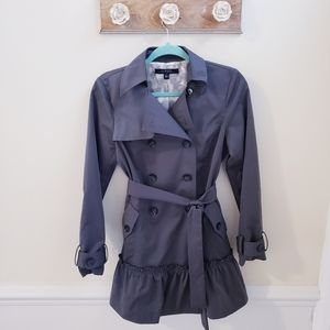 Sandro Studio Trenchcoat with ruffle detail